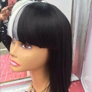 Black n White Half Wig w/ Bangs